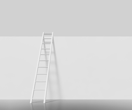Leaning「White ladder on a white wall」:スマホ壁紙(18)