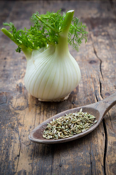 Fennel corm and wooden spoon of fennel seeds (Foeniculum vulgare) on wooden table:スマホ壁紙(壁紙.com)