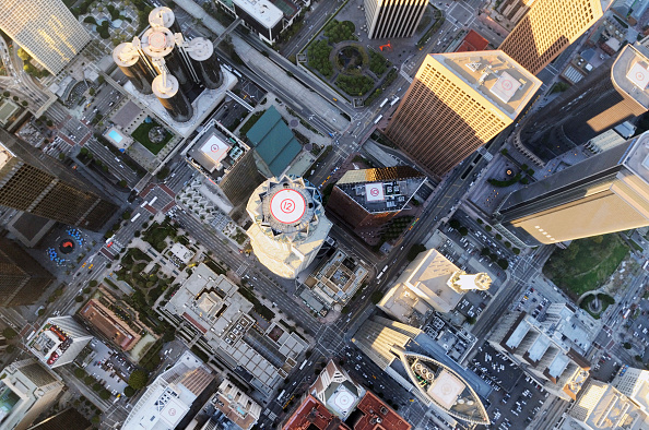 Office Building Exterior「Looking straight down on Downtown Los Angeles.  This aerial image looks straight down on the US bank building, the tallest building west of the Sears's Tower in Chicago, Illinois, USA」:写真・画像(9)[壁紙.com]