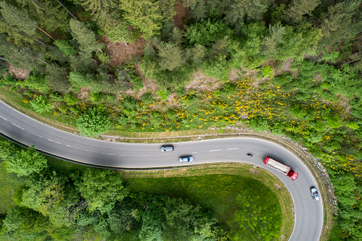 Motorcycle「Looking straight down at curving road」:スマホ壁紙(9)