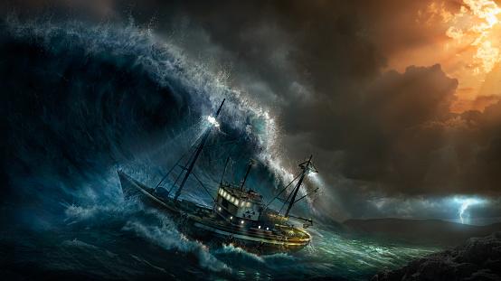 Brighton - England「Ship rolling in stormy sea」:スマホ壁紙(5)