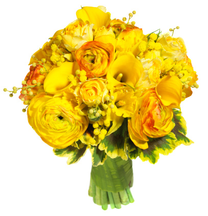 Bouquet「Bright yellow floral bouquet against white background」:スマホ壁紙(15)