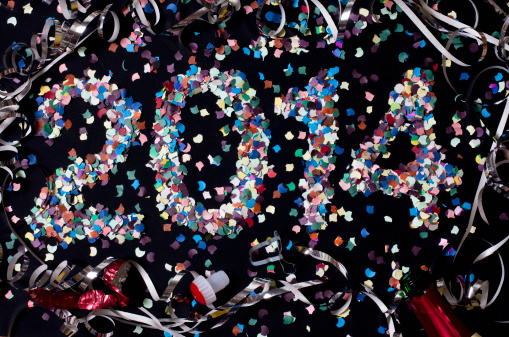 New Year「The year 2014 spelled out with confetti and surrounded by streamers」:スマホ壁紙(5)