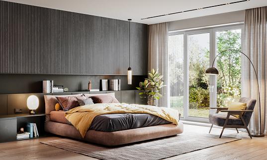 Brown「3D rendering of an elegant bedroom」:スマホ壁紙(5)