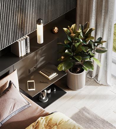 Parquet Floor「3D rendering of a bedroom interior」:スマホ壁紙(16)