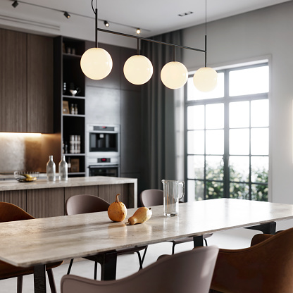 Preparing Food「3D rendering of a kitchen bay and dining area in living room」:スマホ壁紙(12)