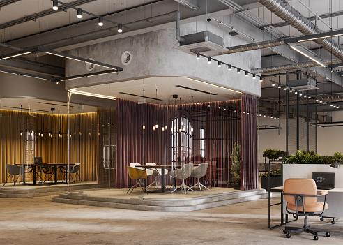 Lobby「3D Rendering of a large open plan office」:スマホ壁紙(15)