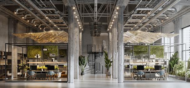 Open Plan「3D rendering of a large green office space」:スマホ壁紙(3)