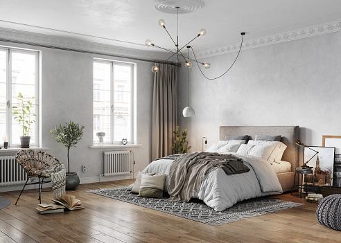 Parquet Floor「3D rendering of a tradional turn-of-the-century bedroom」:スマホ壁紙(11)