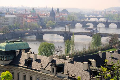 Charles Bridge「Prague bridges aerial view」:スマホ壁紙(18)