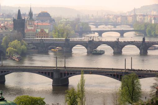 Charles Bridge「Prague bridges aerial view」:スマホ壁紙(19)