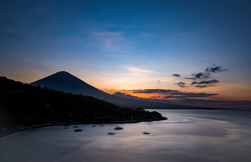 Mt Agung「Sunset in Amed village in Bali over Agung volcano」:スマホ壁紙(2)