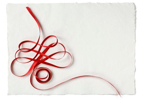クリスマスカード「クリスマスのレッドのリボンで手漉きの紙」:スマホ壁紙(18)