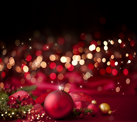 Needle - Plant Part「Christmas Red Bauble on a Red and Black Background」:スマホ壁紙(7)