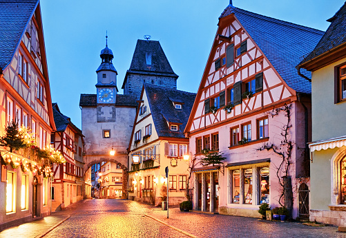 街灯「Christmas Rothenburg ob der Tauber, Bavaria, Germany」:スマホ壁紙(13)