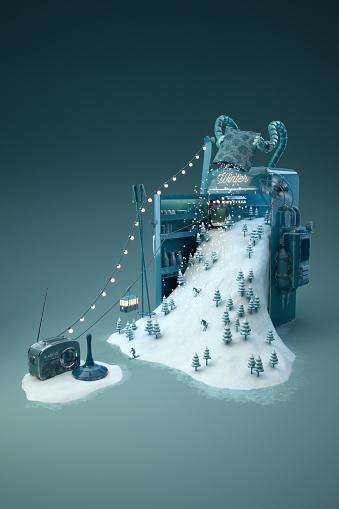 Digital Composite「Wintermaschine - hoch」:スマホ壁紙(2)