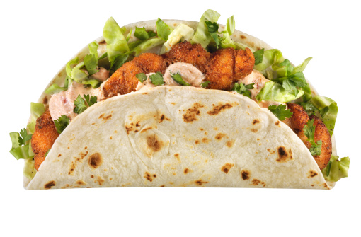 Tortilla - Flatbread「Cajun Fish Taco, isolated on white」:スマホ壁紙(10)