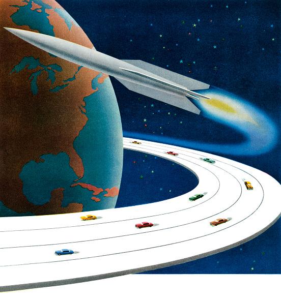 Mid-Century Style「Futuristic Highway And Rocket」:写真・画像(11)[壁紙.com]