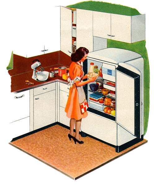 Mid-Century Style「Housewife Opening Refrigerator」:写真・画像(12)[壁紙.com]