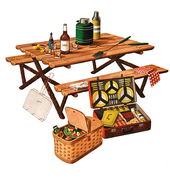 Picnic Table「Picnic Basket And Picnic Table」:写真・画像(1)[壁紙.com]