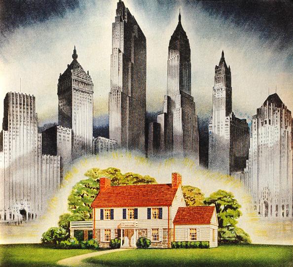 Suburb「Suburban Home And Skyscrapers」:写真・画像(0)[壁紙.com]