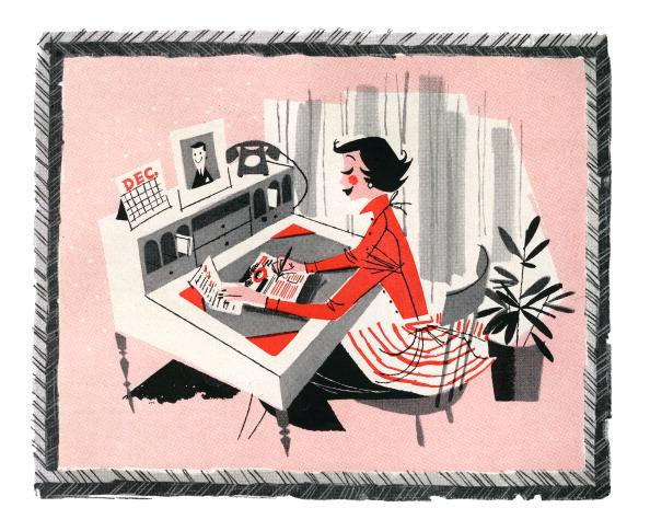 Mid-Century Style「Woman Making List At Home」:写真・画像(2)[壁紙.com]