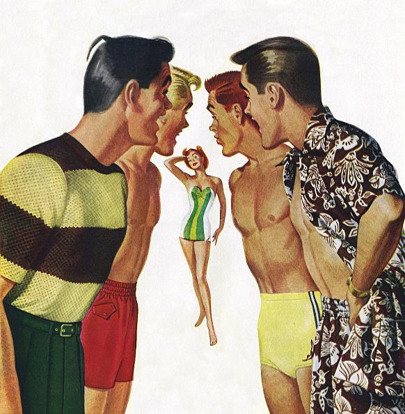 Staring「Men Ogling Woman In Swimwear」:写真・画像(1)[壁紙.com]