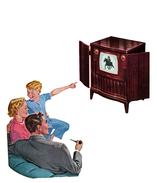 Watching TV「Family Watching Television」:写真・画像(11)[壁紙.com]