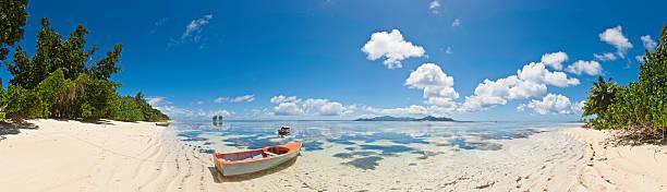 Paradise beach panorama tropical island shore turquoise ocean Seychelles Africa:スマホ壁紙(壁紙.com)