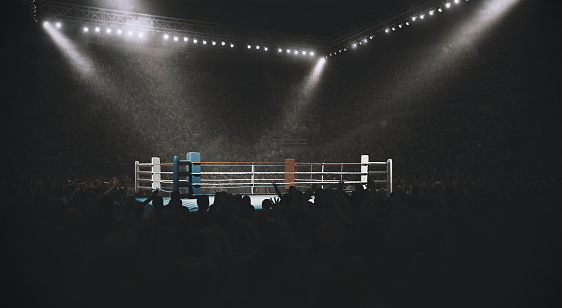 Fighter「Boxing: Empty professional ring with crowd」:スマホ壁紙(3)
