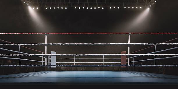 Boxing: Empty professional ring with crowd:スマホ壁紙(壁紙.com)