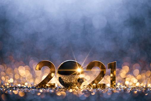 New Year「New Year Christmas Decoration 2021 - Gold Blue Party Celebration」:スマホ壁紙(5)