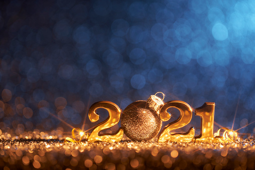 Glitter「New Year Christmas Decoration 2021 - Gold Blue Party Celebration」:スマホ壁紙(12)
