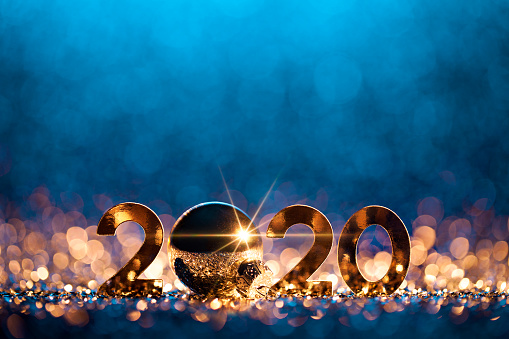 New Year's Eve「New Year Christmas Decoration 2020 - Gold Blue Party Celebration」:スマホ壁紙(19)