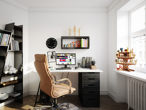 Home Office「Cozy Scandinavian Style Home Office」:スマホ壁紙(5)
