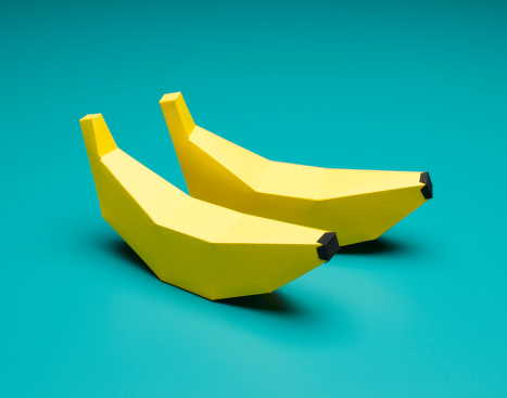 Two Objects「Paper Craft Bananas on Blue」:スマホ壁紙(12)