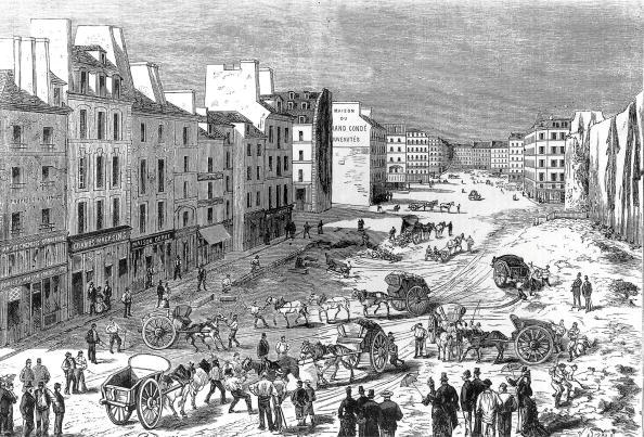 Paris - France「clearing of Saint Germain boulevard in Paris during Haussmann work in 1887, engraving」:写真・画像(0)[壁紙.com]