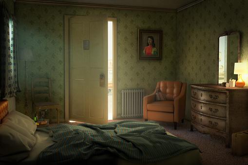 Motel「Open door in empty hotel room」:スマホ壁紙(14)