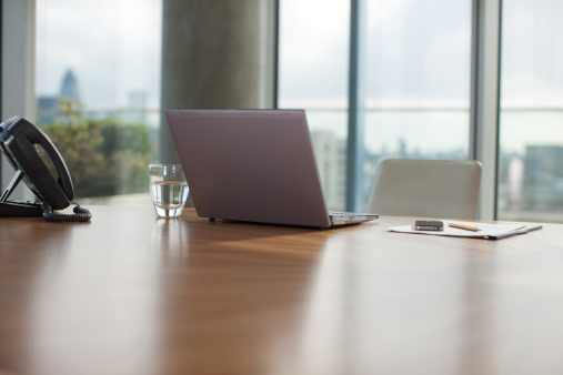 Business「Glass of water, paper, laptop and pen on conference room table」:スマホ壁紙(3)