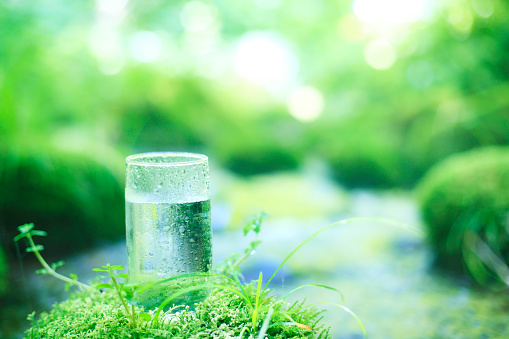 Drinking Glass「Glass of water on mossy stone by stream」:スマホ壁紙(2)