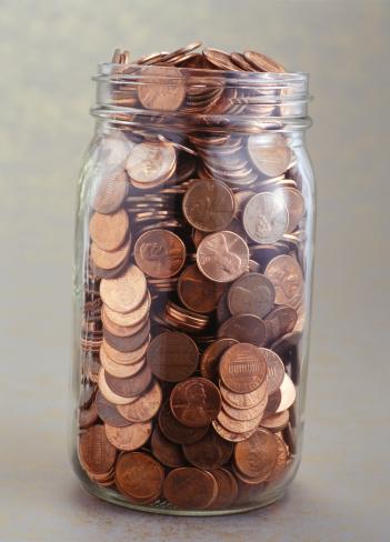 米国硬貨「Full jar of coins, (Close-up)」:スマホ壁紙(14)