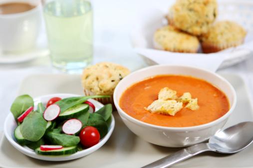 Ice Tea「lunch - tomato soup,savory  muffin, salad」:スマホ壁紙(11)