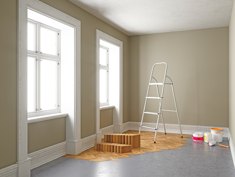 Sepia Toned「Apartment During Renovation. Home improvement concepts」:スマホ壁紙(19)