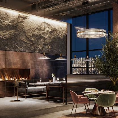 Luxury Hotel「Beautiful interior of a restaurant in evening」:スマホ壁紙(3)