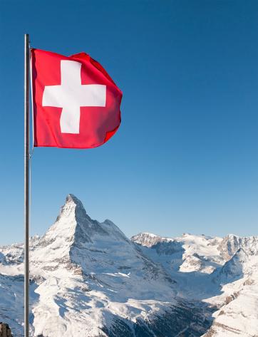 Ski Resort「Swiss Flag and Matterhorn」:スマホ壁紙(18)
