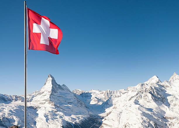 Swiss Flag and the Matterhorn:スマホ壁紙(壁紙.com)