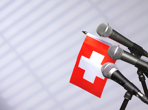 Party Conference「Swiss flag with mics」:スマホ壁紙(9)