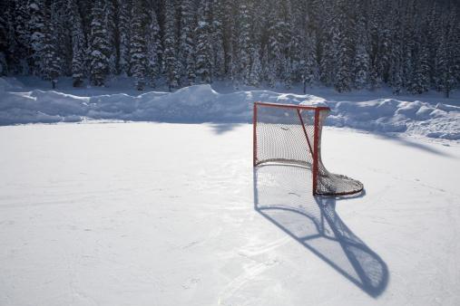 Ice Hockey Rink「hockey net on outdoor ice rink」:スマホ壁紙(19)