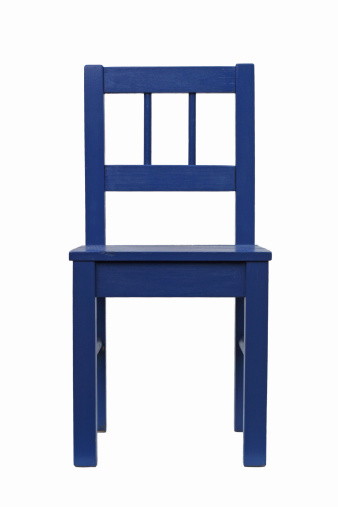 Front View「Blue chair isolated on a white background」:スマホ壁紙(4)
