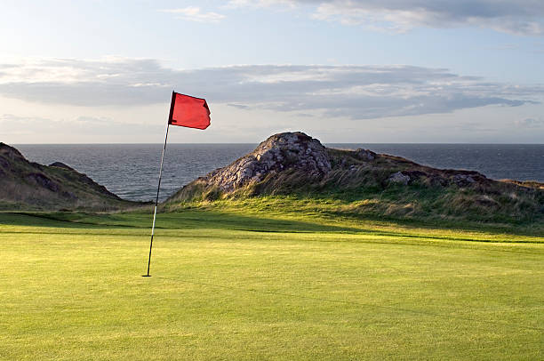 Red flag on hole of golf course green:スマホ壁紙(壁紙.com)